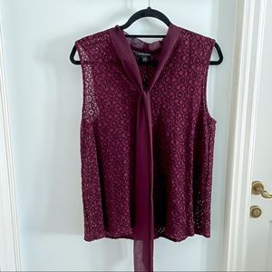 Banana Republic Burgundy Lace Blouse with tie
